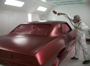 Camaro in Paint Booth