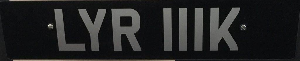 LYR111K License Plate